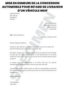 Mise En Demeure De La Concession Automobile Pour Retard De Livraison