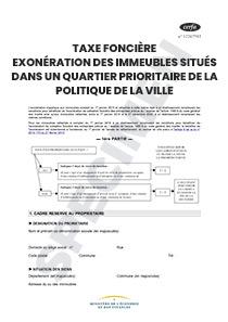 Cerfa 12311 01 Taxe Fonciere Exoneration Des Immeubles Situes