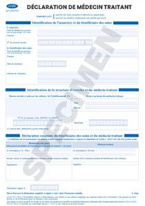 Cerfa 12485-03 - Déclaration de Médecin traitant