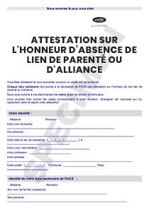 Cerfa 15432 01 Attestation Sur Lhonneur Dabsence De Lien