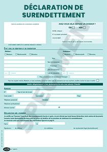 la déclaration de surendettement grâce au formulaire cerfa