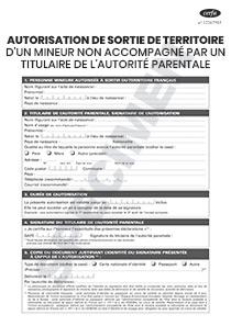 Cerfa 15646 01 Autorisation De Sortie De Territoire D Un Mineur
