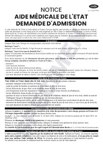 CERFA 50741-05 : Notice - Aide médicale de l'Etat demande d'admission