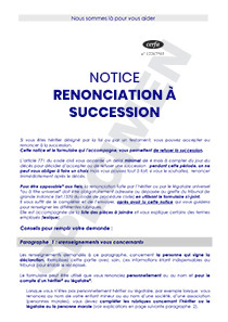 CERFA 51411-02 - Notice de renonciation à succession