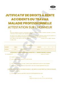 Formulaire S6111b Justificatif De Droits A Rente Accident Du