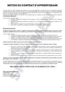 Cerfa 51649 03 Notice Pour Le Contrat D Apprentissage Formulaire