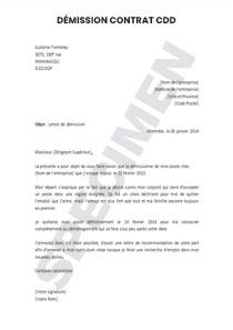 Lettre De Démission Pour Un Poste En Contrat Cdd Sans Préavis