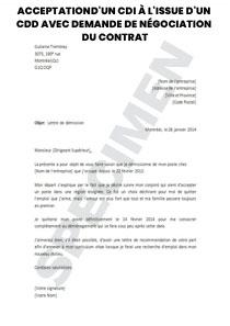Acceptationd Un Cdi A L Issue D Un Cdd Avec Demande De Negociation