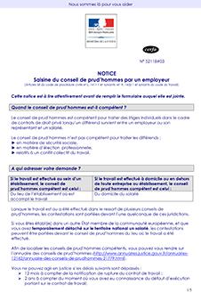 CERFA 15587-03 : Saisine du conseil de prud'hommes par l'employeur