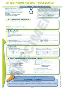 Attestation ASSEDIC - POLE EMPLOI pour les particuliers employeurs