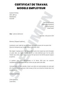 Certificat de travail - modèle pour employeur